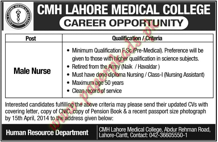 CMH Lahore Medical College Jobs