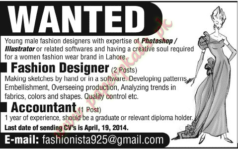Fashion Designer and Accountant Jobs