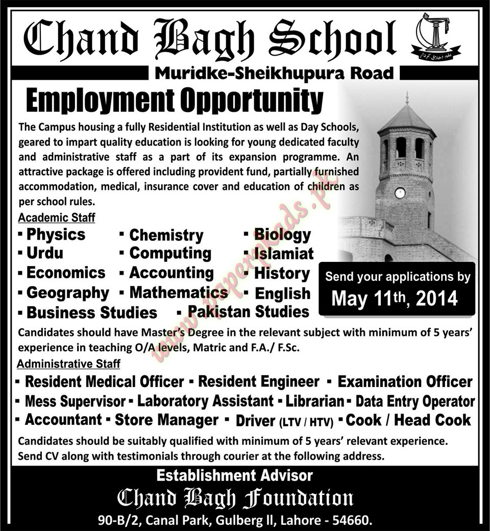 - Nawaiwaqt-26-April-2014-Chang-Bagh-School-Jobs