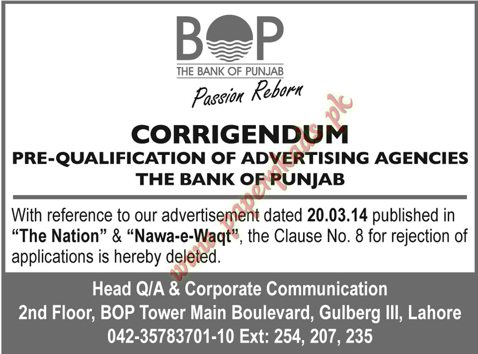 PreQualification Notice - The Bank of Punjab