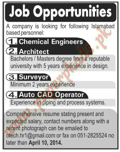 (The News 07 April 2014) - Chemical Engineers, Architect - Surveyor and Other Jobs