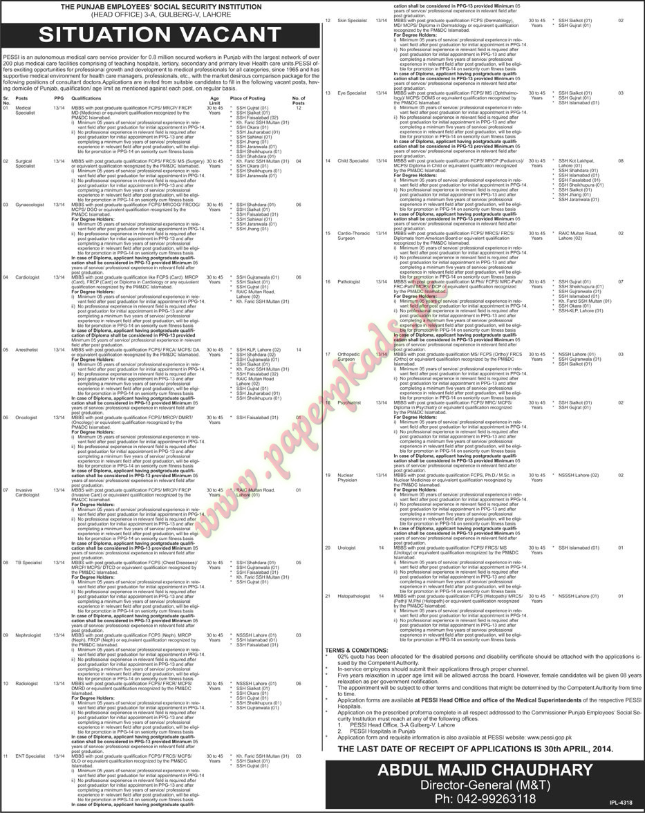 The Punjab Employees Social Security Institution Lahore Jobs