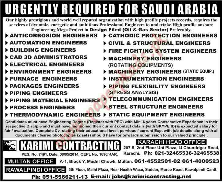 Anticorrosion Engineer, Cathodic Protection Engineer, Building Engineers,  Machinery Engineers And Other Jobs