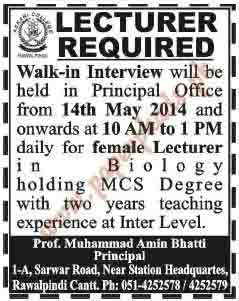Lecturer Required in Rawalpindi