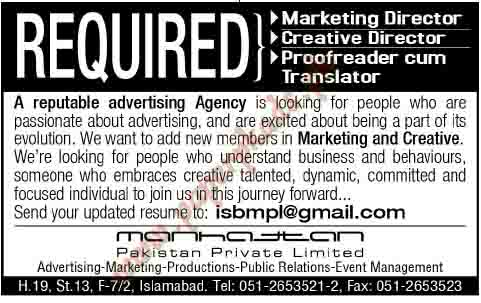Marketing Director, Creative Director, Proofreader cum Translator Jobs in Islamabad