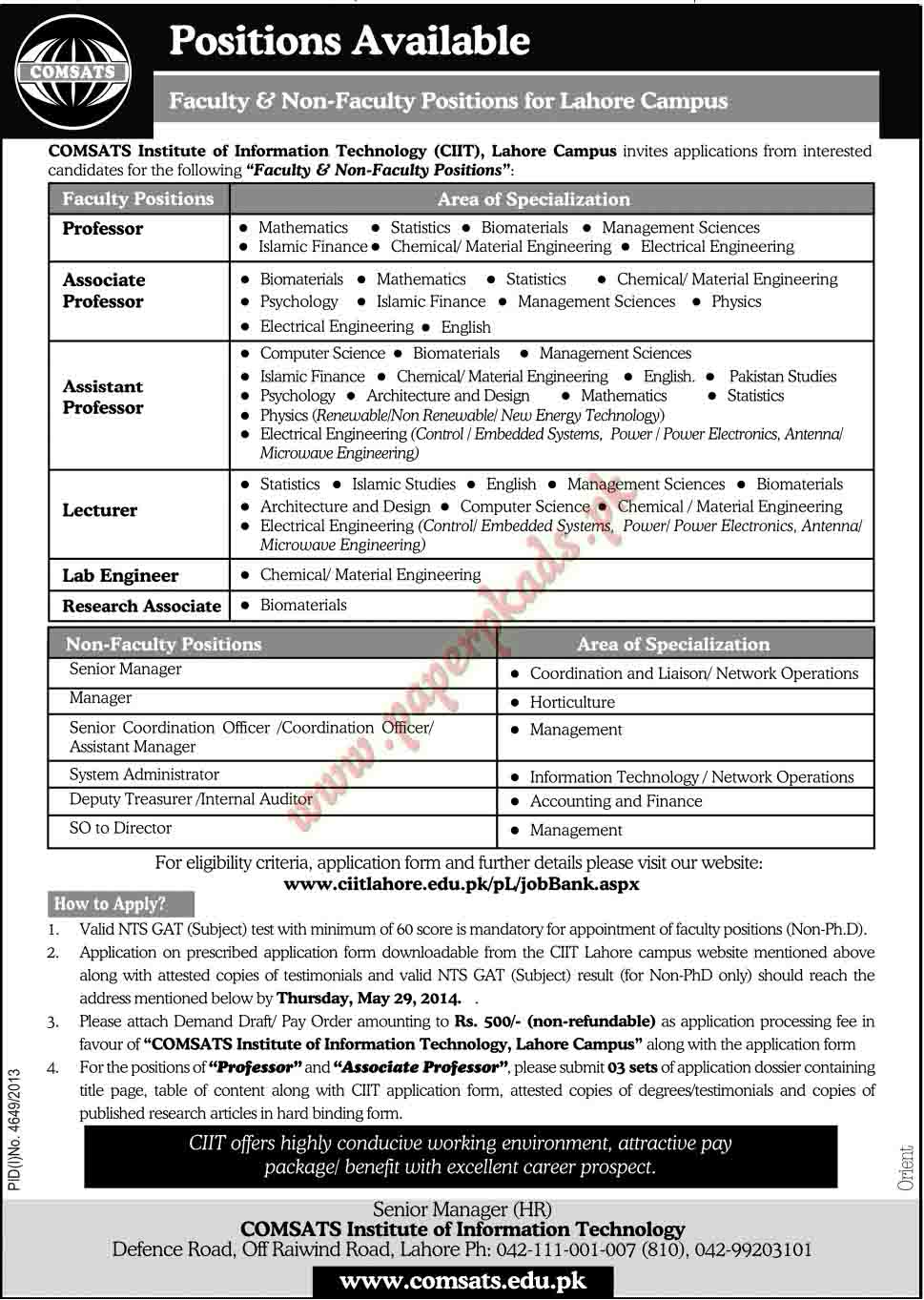 Professor, Associate Professor, Assistant Professor, Lecturer, Lab Engineer, Research Associate Jobs in Lahore