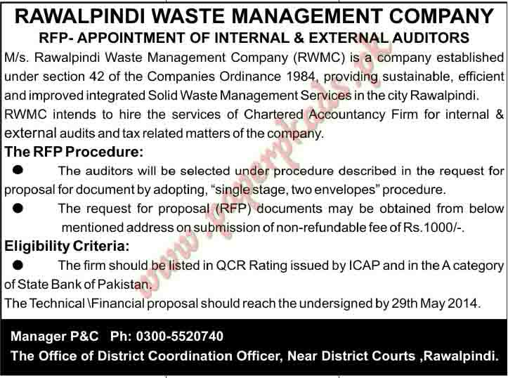 Rawalpindi Waste Management Company Jobs in Rawalpindi