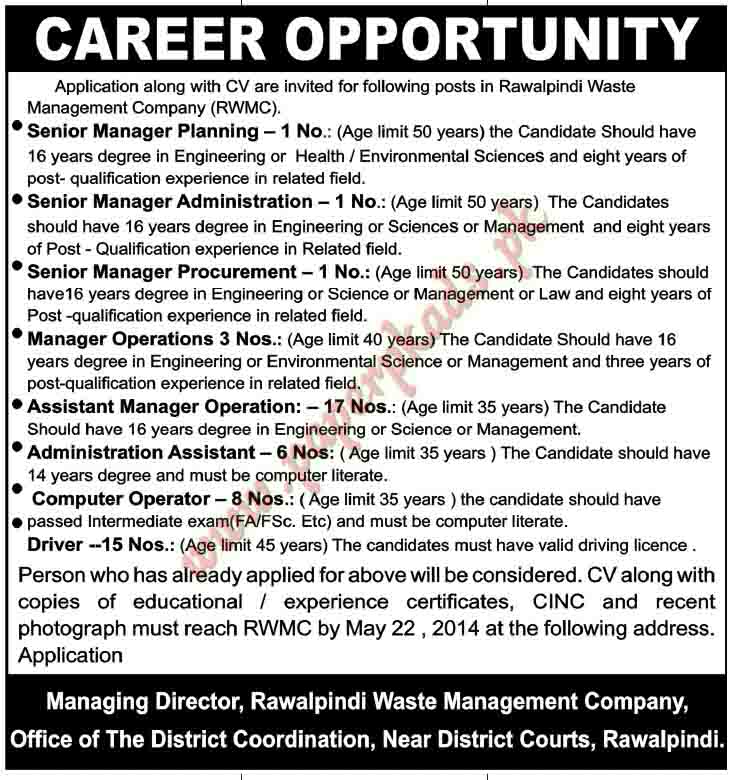 Senior Manager Planning, Senior Manager Administration, Senior Manager Procurement, Manager Operations and Other Jobs in Rawalpindi
