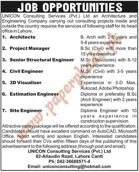 Architects Projects Manager Senior Structural Engineer Civil