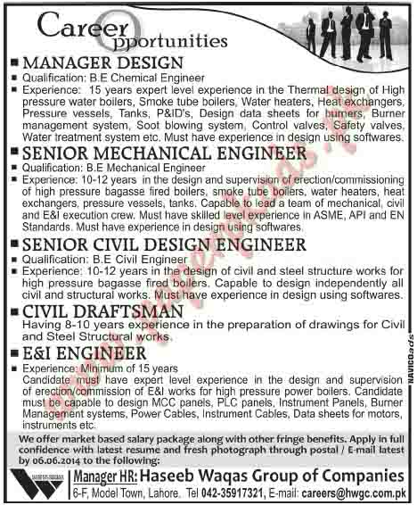 Manager Design Senior Mechanical Engineer Senior Civil Design Engineer Civil Draftsman E I Engineer Jobs In Lahore