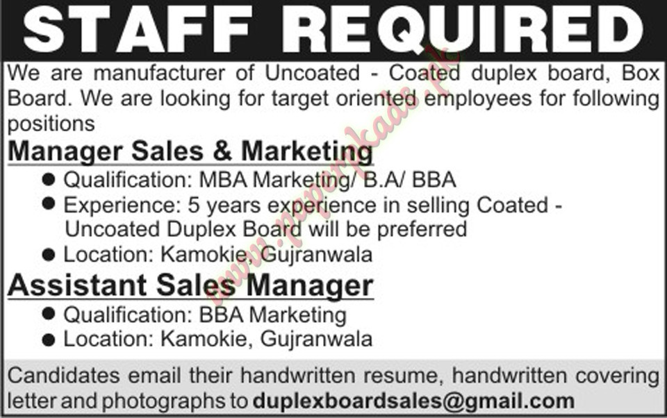 Manager Sales & Marketing, Assistant Sales Managers Jobs - PaperPk