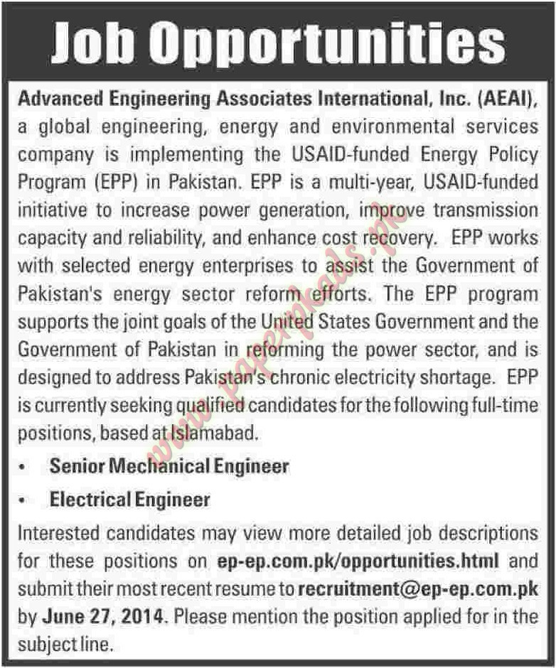 Senior Mechanical Engineer & Electrical Engineer Jobs - Paper Pk Ads