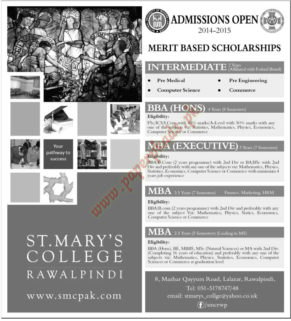 Admissions Open - ST Marys College Rawalpindi
