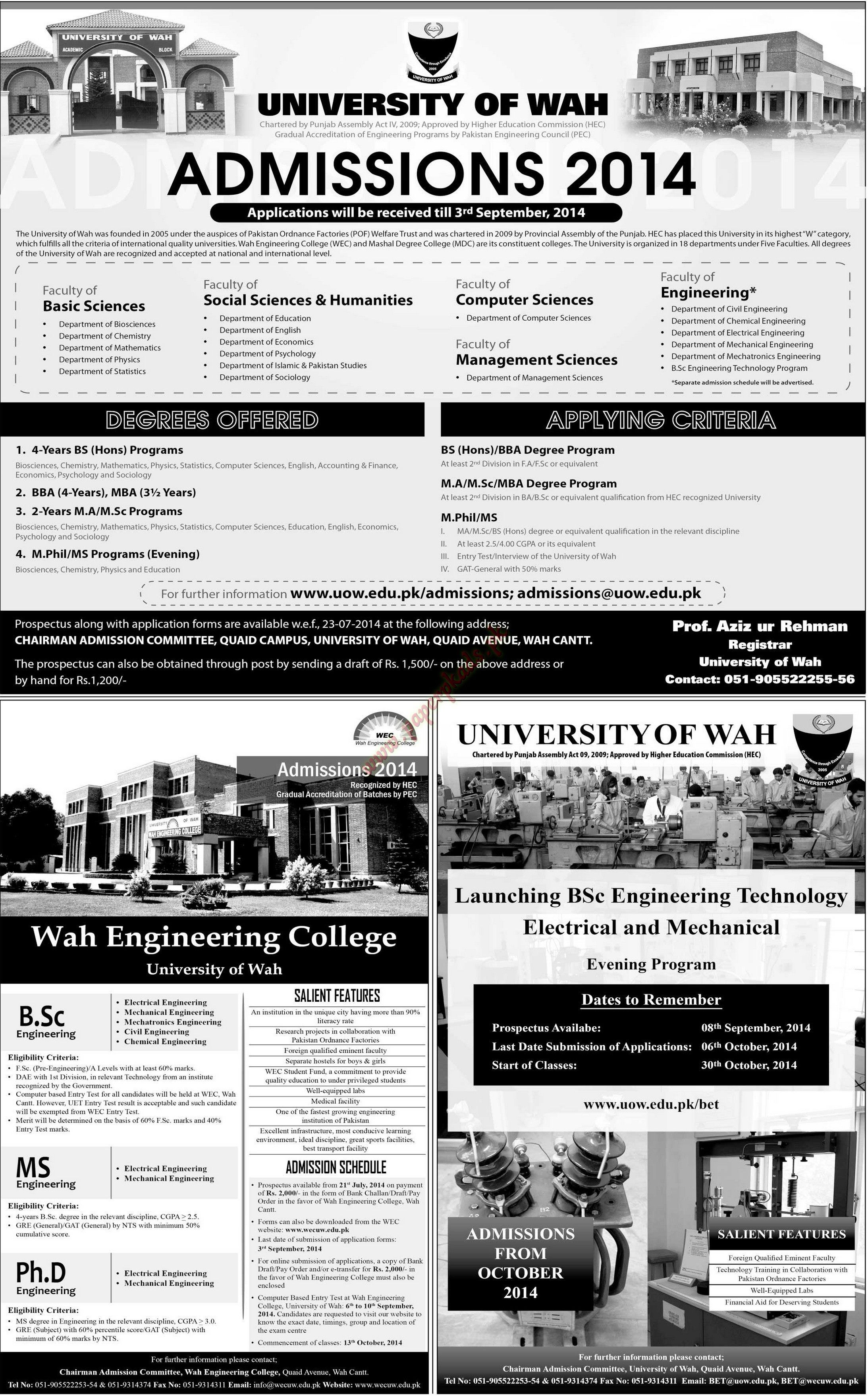 Admissions Open - University of WAH