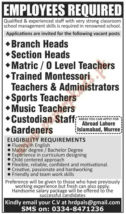 Branch Heads, Section Heads, Teachers, Trained Montessori Teachers and Administrators, Custodian Staff, Gardeners and Other Jobs in Abroad Lahore Islamabad