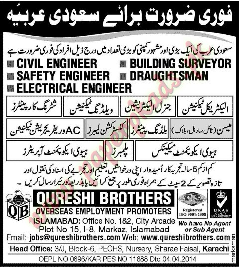 Civil Engineer, Safety Engineer, Building Surveyor, Draughtsman, Electrical Engineer, Technicians, Plumber and Other Jobs