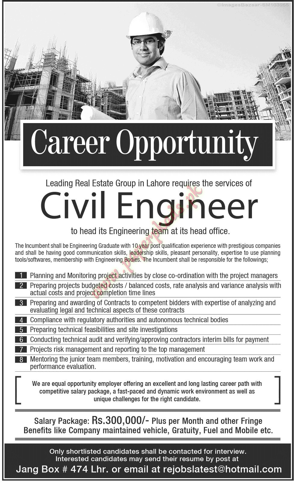 civil engineers jobs in lahore