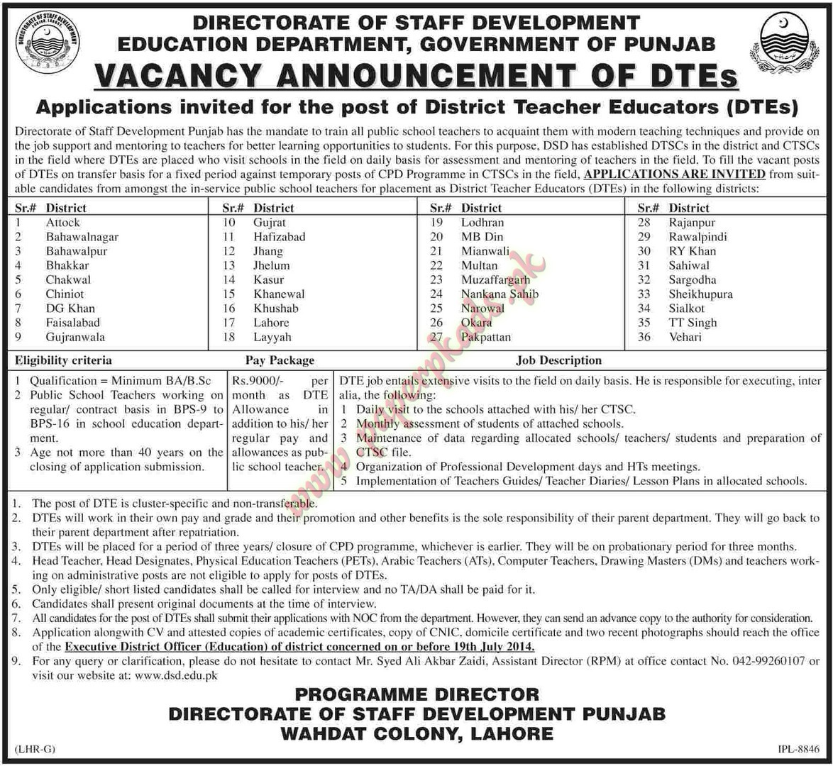Directorate of Staff Development Education Department Government of Punjab Jobs