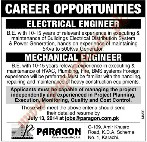 Electrical Engineer and Mechanical Engineer Jobs