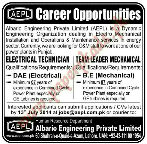 Electrical Technician & Team Leader Mechanical Jobs