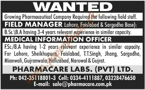 Field managers, Medical Information Officers Jobs