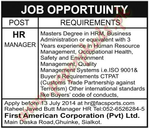 Hr Manager Jobs Paperpk