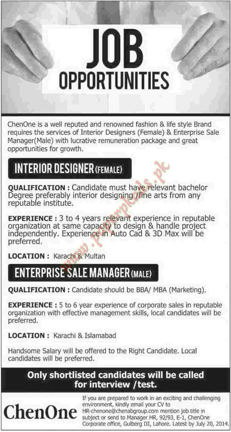 Interior Designer Enterprise Sale Managers Jobs Paperpk