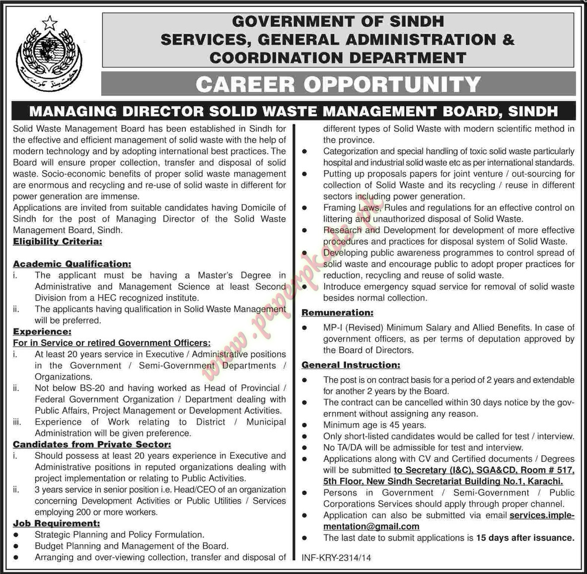 Managing Director Solid Waste Management Board Sindh Jobs