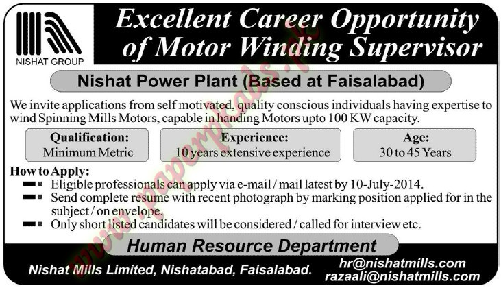 Motor Winding Supervisor Jobs In Nishat Power Plant Paperpk