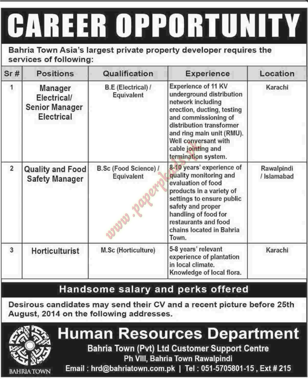 Bahria Town Jobs - Manager Electrical, Quality and Food Safety ...