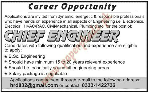 Chief Engineer Jobs  Paperpk