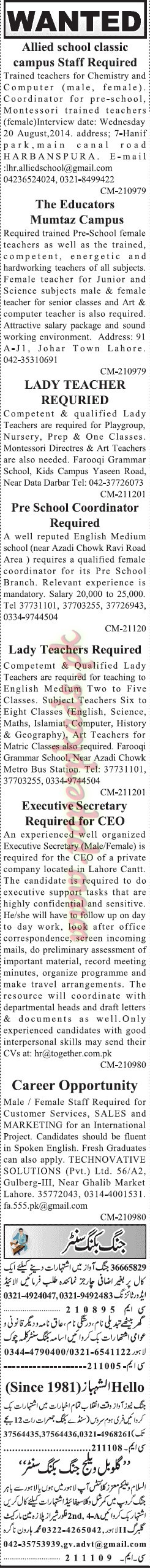 Classifieds Ads Part 1 - Jang jobs 17 August 2014
