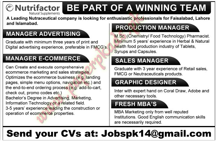Manager Advertising, Manager Ecommerce, Production Manager, Sales ...