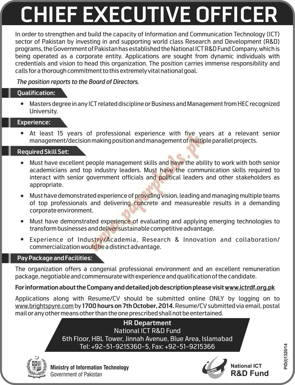 Chief Executive Officer Jobs U2013 Nawaiwaqt Jobs Ads 21 September 2014 ...