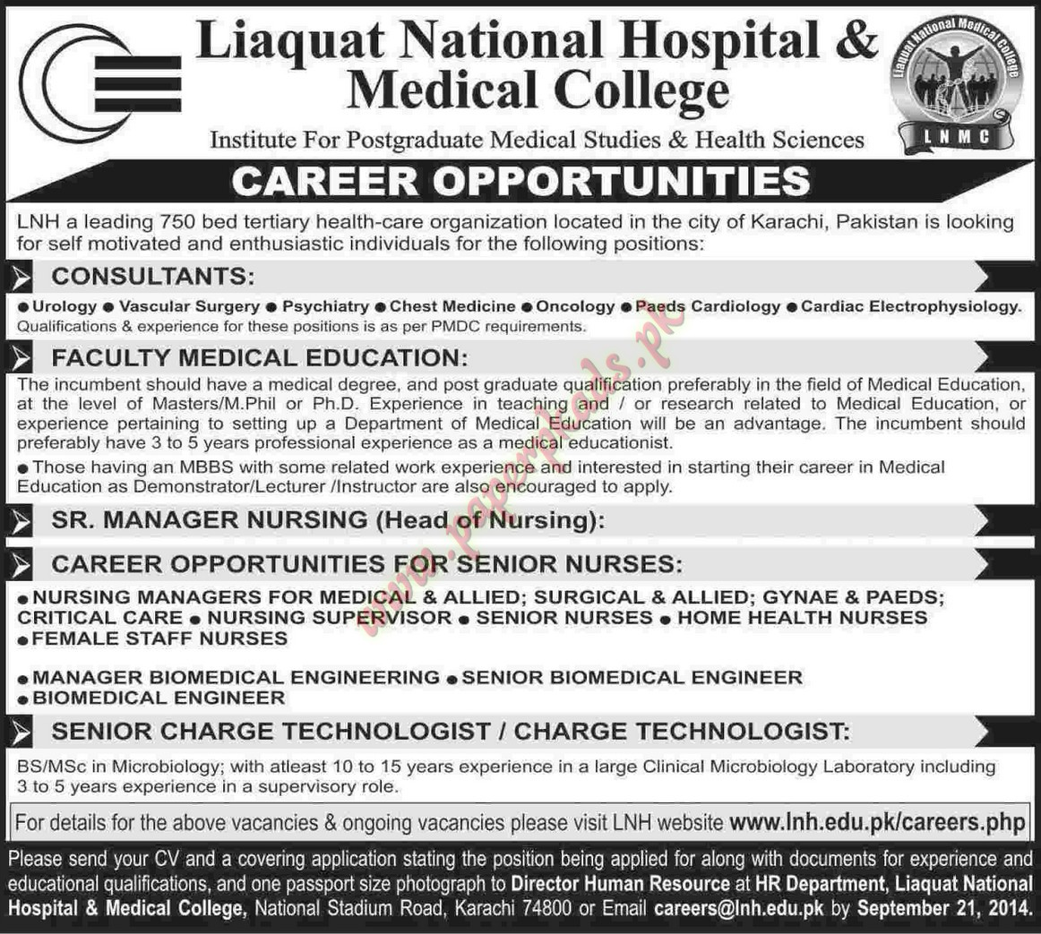 Consultants, Faculty Medical Education, Senior Manager Nursing And Other  Jobs U2013 Dawn Jobs Ads 14 September 2014 ...