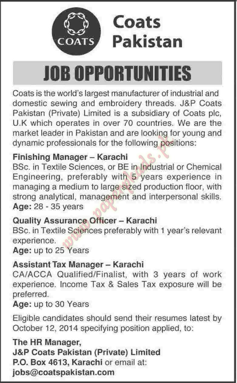 Finishing Manager, Quality Assurance Officer, Assistant Tax Manager ...