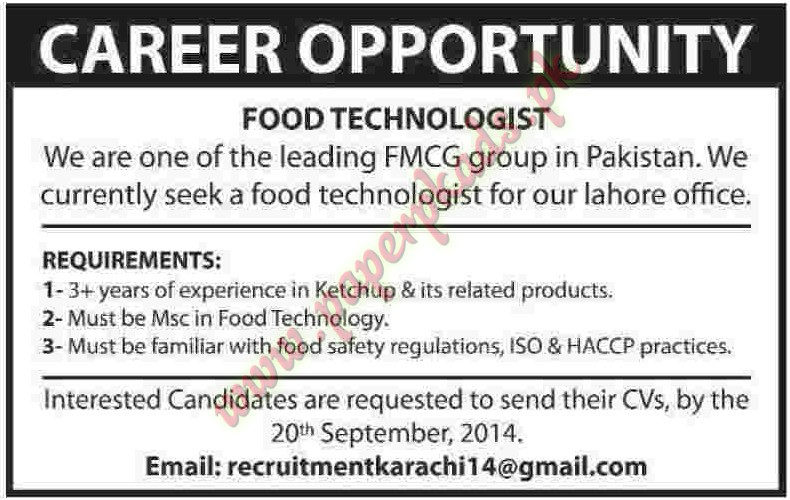 High Quality Food Technologist Jobs U2013 Dawn Jobs Ads 14 September 2014 ...