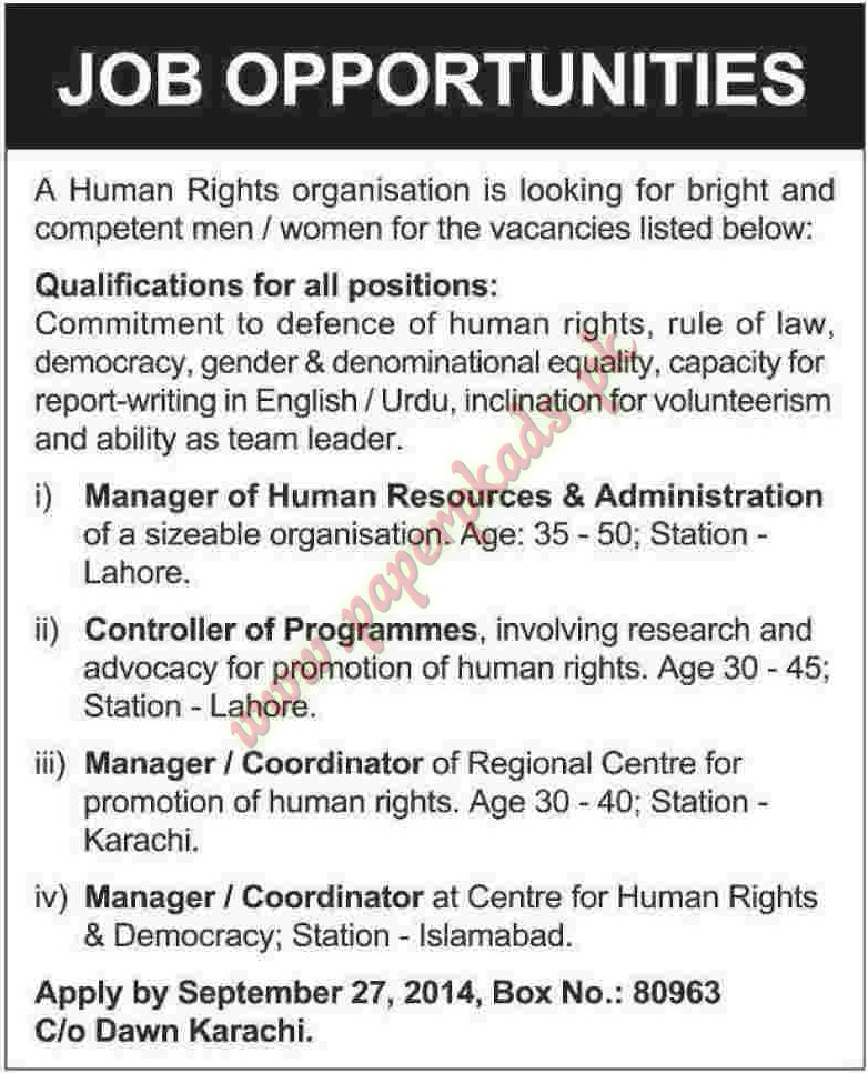 Manager Of Human Resource Controller Of Programmes