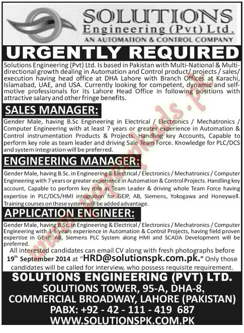 Sales Manager, Engineering Manager, Application Engineer Jobs U2013 Jang Jobs  Ads 07 September 2014 ...