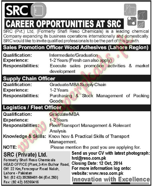 Sales Promotion Officer, Supply Chain Officer, Logistics Officer Jobs U2013  Jang Jobs Ads 28 September 2014