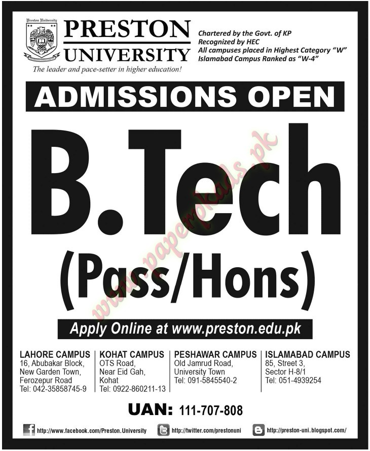 Admissions Open - PRESTON University - Jang 31 October 2014