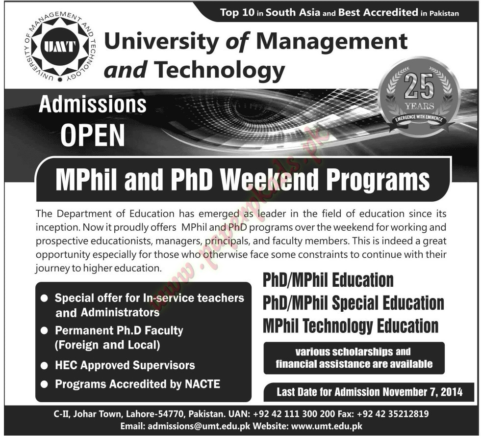 Admissions Open - University of Management and Technology - Jang 31 October 2014