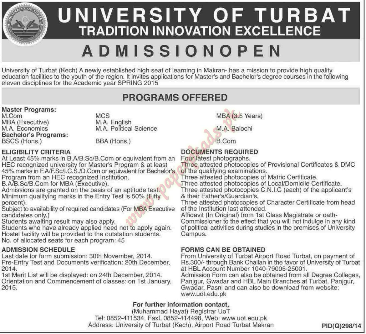 Admissions Open - University of Turbat - Dawn 31 October 2014