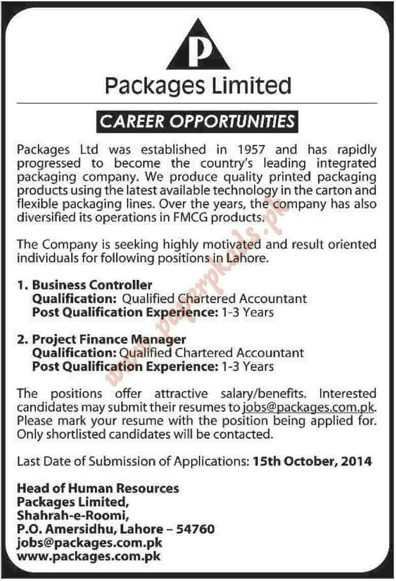 Business Controllaer and Project Finance Managers Jobs - Dawn Jobs ...