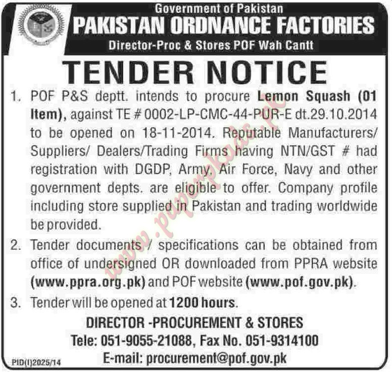 Government of Pakistan - Pakistan Ordnance Factories - Dawn Tender 31 October 2014