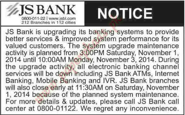 JS BANK - Dawn Tender 31 October 2014