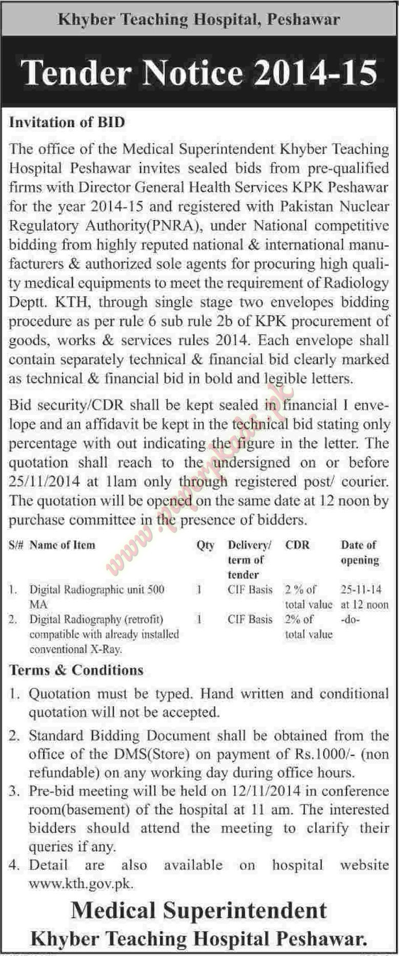 Khyber Teaching Hospital Peshawar - Dawn Tender 31 October 2014