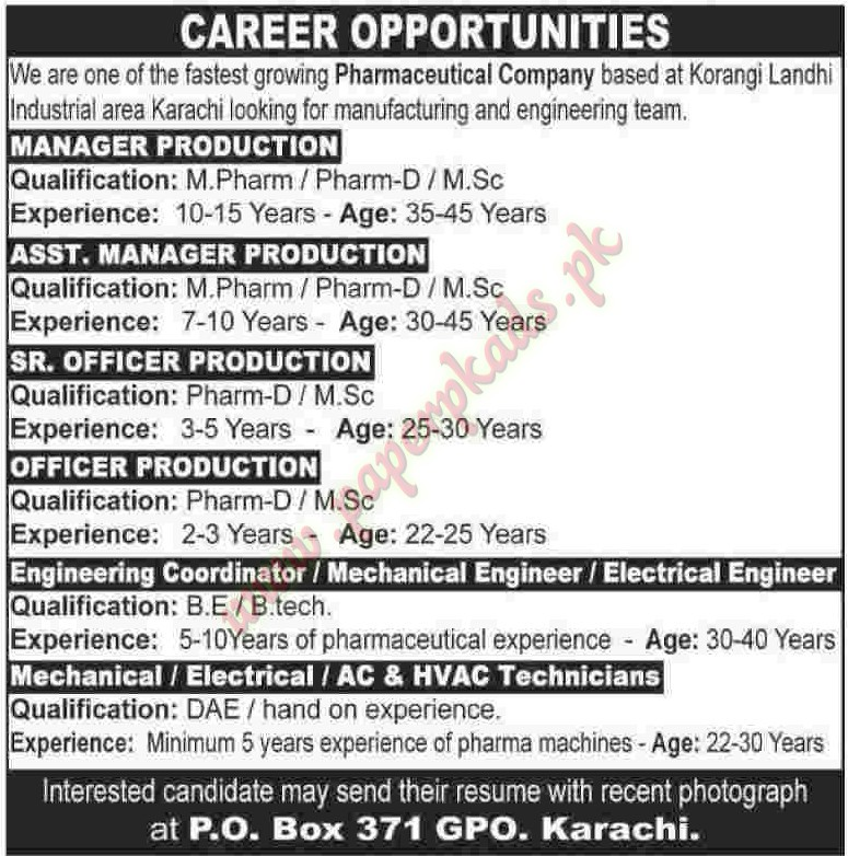 Manager Production, Assistant Manager Production, Senior Officer ...