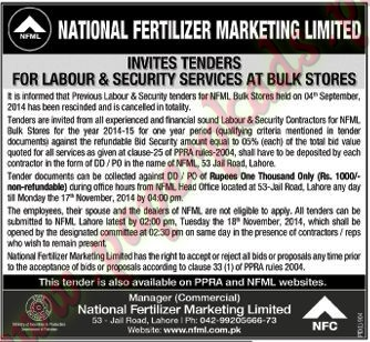 National Fertilizer Marketing Limited - Nawaiwaqt Tender 31 October 2014