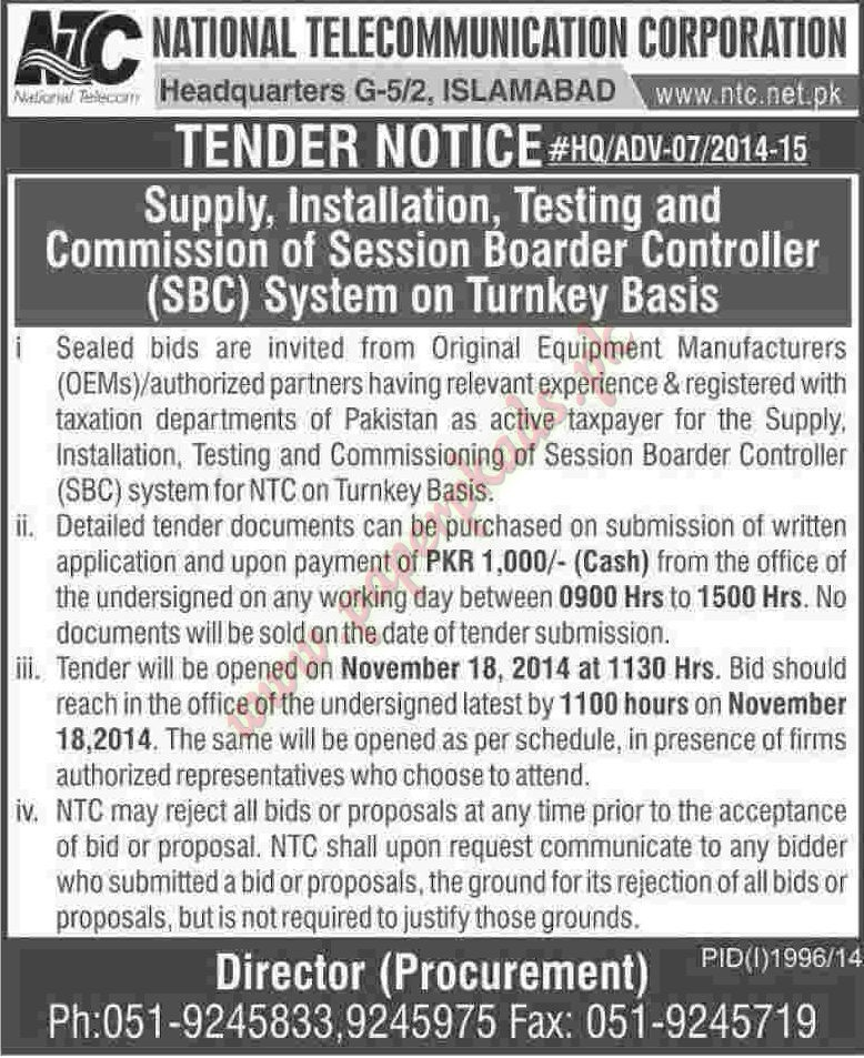 National Telecommunication Corporation - Dawn Tender 31 October 2014